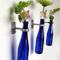 Blue Wine Bottle Wall Flower Vase Wall Sconce by GreatBottlesofFire