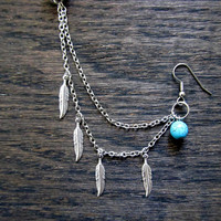 Turquoise and silver feather ear cuff, feather ear cuff earring