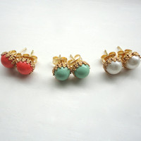 Tiny Stud Earrings - Coral, Mint, & Pearl - Choose Your Color - One Pair of Post Earrings