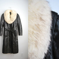 My Leather Love - Vintage 80s Black Leather White Fox Fur Collar Tranch Coat Jacket