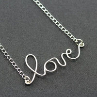 "Love Necklace : Dear Diary... Tiny Delicate Silver Plated Love Charm Necklace, 17"", Handwritten, Cursive"