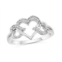 Sterling Silver Round Diamond Triple Heart Ring (1/10 cttw) (Size 7.5)