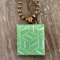 Green and Geometric, Scrabble (c) tile Pendant, Teen, Tween