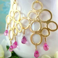 Hot pink corundrum quartz gold bubble earrings