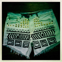 SUPER SALE: Studded Aztec Ombre Hipster Levi Shorts