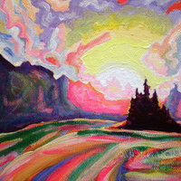 ORIGINAL Acrylic Painting The Sun is Setting at the Lake, 5x7 Colorful Island and Sky Art