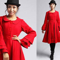 Red wool coat with Long bell sleeves (406)