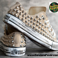 Bandana Fever Custom Studded Khaki Converse All-Star Chuck Taylor Ox Silver Round Pyramid Studs Sides