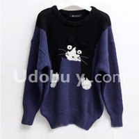 Blue Slim Cat Cartoon Images Sweater $45.00