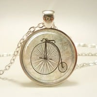 Penny Farthing Bicycle Necklace, Hipster Vintage Style Bike Pendant......
