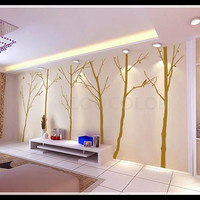 Unique Winter tree and  free bird 6 trees in one set Wall Decal Wall Sticker Home Decal Home Sticker Tell me colors you like when you buy.