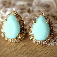 Mint blue seafoam Crystal big teardrop stud earring - 14k plated gold post earrings real mint and swarovski rhinestones.