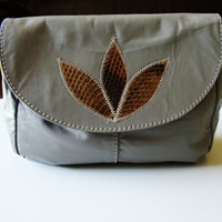 Leather Grey Shoulder Bag with Leaf Applique by JypseaVintage