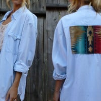 Redesigned Palest Blue Vintage Southwestern Print BOHO Blouse/ Shirt xs- large