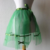 50s Apron Vintage Sheer Green Tulle Net Ribbon Bows Trim Risque