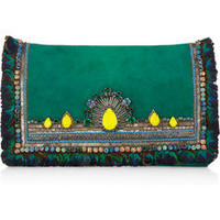 Matthew Williamson|Swarovski crystal-embellished suede clutch|NET-A-PORTER.COM
