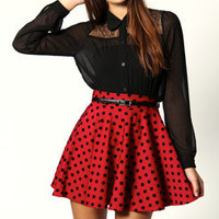 Julia Polkadot Skater Skirt With Belt