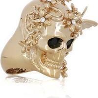 Alexander McQueen|Brass Swarovski crystal skull and butterfly ring