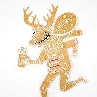 Deer with Beer - Articulated Paper Doll by Dubrovskaya. Kraft paper, hand painted, MADE TO ORDER.
