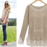 Afternoon Soiree Lace Hemed Camel Knit Cozy Soho Chic Tunic Sweater 15-67 S