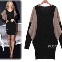 Hope Floats Sweater Dress Boutique Boho Colorblock Black Tan Knit Tunic 8-C27 S
