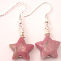 Rhodonite Star Earrings - Pink Gem Stones with Silver Details