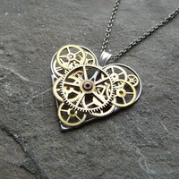 "Clockwork Heart Necklace ""Complex Love"" Elegant Industrial Heart Steampunk Necklace Mechanical Love Sculpture by A Mechanical Mind"