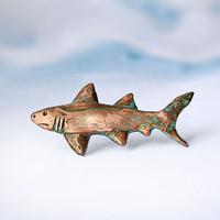 Brooch Shark, copper, handmade nautical jewelry, shabby chic