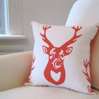 Orange Antlers PILLOW Cover - Throw Pillow Sham - Woodland Accent Cushion in Tangerine White Deer - Rustic Winter Home Decor (PRE-ORDER)