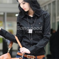 New Fashion Casual Women's Sexy Long Sleeve Slim Fit Black Shirt Free Shipping!  - US$17.99