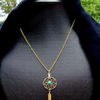 Gold, Turquoise dream catcher necklace - Sun and Sky l
