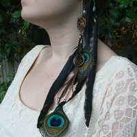 dreamcatcher ear cuff wrap dreamcatchers peacock and rooster feathers beetle wingsnative american inspired tribal gypsy boho hippie style