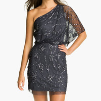 Adrianna Papell Embellished One Shoulder Mesh Dress | Nordstrom