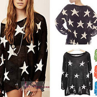 Slouchy Two Layer Knit Loose Round Neck Star Ripped Sweater Top M #TKT-Black