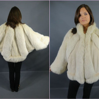GORGEOUS Vtg 80s Blush Batwing MINK &amp; FOX Fur Jacket Coat | eBay