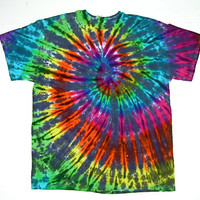 Tie Dye Shirt/ Adult XLarge/ Pastel Inverted Rainbow Spiral