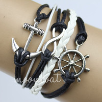rudder bracelet, Infinity bracelet, anchor bracelet, white leather bracelet, black wax cords bracelet