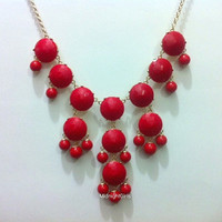 Free Necklace W/ Purchase, Bib Necklace Bubble, Bubble Necklace, Bubble Statement Necklace, Red Bubble Necklace, J Crew Inspired, Red, Jcrew