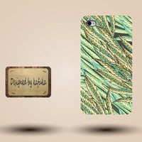iPhone Case for iPhone 4 or 4S,iphone 5 cases coming soon,unique handmade hard Plastic case cover,Green floral,P series 45