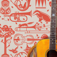 Mini Moderns &amp;mdash; Pet Sounds Wallpaper - Harvest Orange