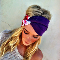 Purple and Watercolor Turband Headband Stretchy Twisted Turban Headband Stretchy Head bands Hair Coverings (HBT-08)