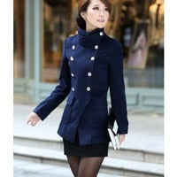 High Neck  Long Sleeve Doubled Breasted Stand Collar Woolen Coat  double-breasted closure type  Solid Pop  style cy1026001 in