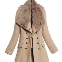 Lapel Brown Big Fur Collar Woolen Coat   double-breasted closure type  Solid Pop  style dh103008 in