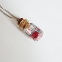 TINY WATERMELONS - glass bottle jewelry