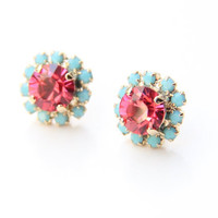 Pink and turquoise Crystal Stud earrings - rhinestones posts - 24k gold plated