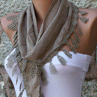 Grullo Scarf  -  Cotton Scarf  -  Cowl with Lace