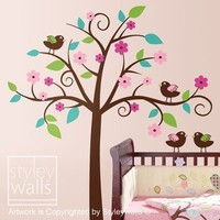 Whimsical Flower Tree with Love Birds Nursery by styleywalls