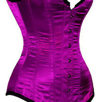 "New Fully Steel Boned Extra Long Purple Satin Corset Purple 22"" (suit approx. 26""-28"" waist) 