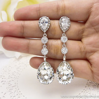 Wedding Bridesmaid Earrings Bridal Jewelry Bridesmaid Jewelry Clear White Swarovski with Cubic Zirconia Tear Drops and Cz Connectors