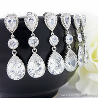 SET of 4 Bridesmaid Wedding Earrings Bridal Jewelry Cubic Zirconia Ear Posts Cz Connectors with Clear White Cubic Zirconia (L) Tear Drops